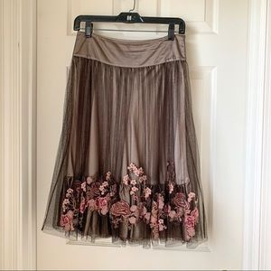 Karen Millen Tulle Skirt with Floral Embroidery